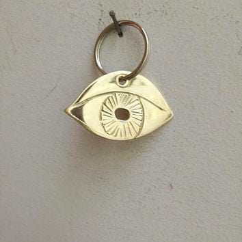 Brass eye key ring, brass eye keychain, golden eye charm, Greek eye accessories, Greek eye folk art key chain, boho eye accessories