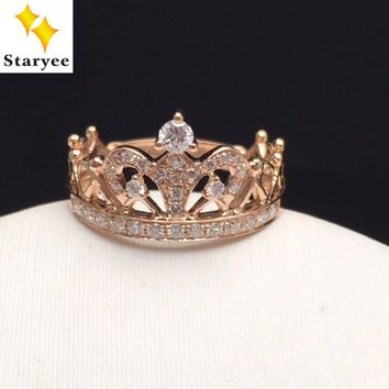 STARYEE Queen Princess Crown Rings For Women Real 18K Rose Gold Engagement Band Jewelry Natural Diamonds 0.29CT VS G Au750 Stamp