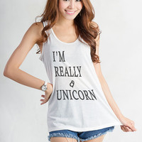 I'm really a unicorn T Shirt White Tank Top Women Teen Sleeveless Shirt Top Streetwear Style Instagram Tumblr Hipster Blogger Cute Dope Gift