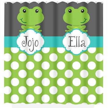 FROG SHOWER CURTAIN, Frog Bathroom, Custom Monogram Personalized Shared Brother Sister Bathroom Bath Towel,  Bath Mat
