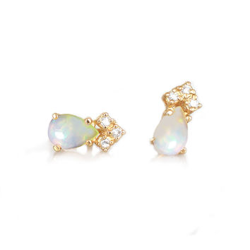 14kt Gold Opal and Diamond Crown Studs
