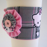 Hello Kitty Coffee Cup Cozy / Plaid Drink Sleeve / Pink & Gray / Reusable Coffee Cuff / Kawaii