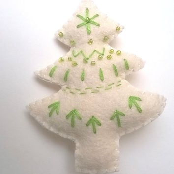 Green-white Christmas tree ornament - felt ornaments - Christmas/Housewarming home decor - hand embroidered