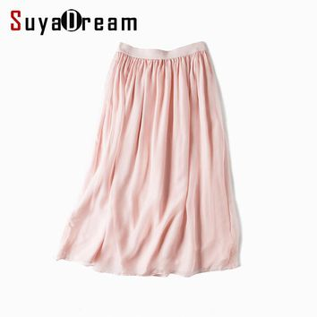 Women Silk long skirt 100%Real Silk Solid Pink Maxi fashion Skirts saia Two layers 2017 Spring Summer New Wine Black White Green