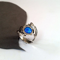 SUMMER SALE,sterling silver leaf ring,delicate flower Ring,unique silver ring,blue opal ring,handmade,gift for women,girls gift
