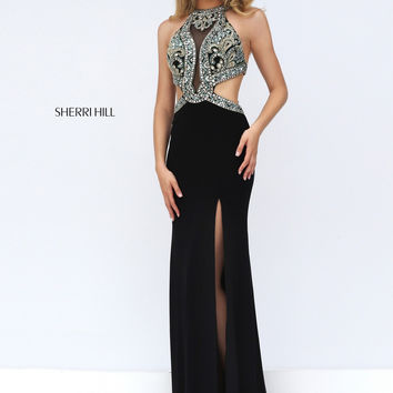 Sherri Hill 50383 Beaded Cut Out Illusion Evening Gown For Women [sherri hill 50383 black] - $159.00 : Cheap Prom Dresses & Homecoming Dresses For Sale Online