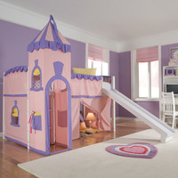 NE Kids School House Twin Princess Low Loft Bed with Slide