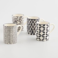 Charcoal and Ivory Alvaro Mugs Set of 4