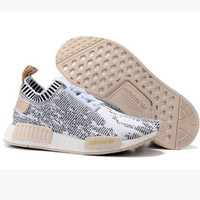 "Women ""Adidas"" NMD Boost Casual Sports Shoes White black lace up"
