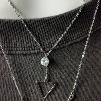 Delicate chevron Triangle and CZ Dual Necklace - Dainty Necklace - Multi Strand Layering necklace Verameat Amies Solistar