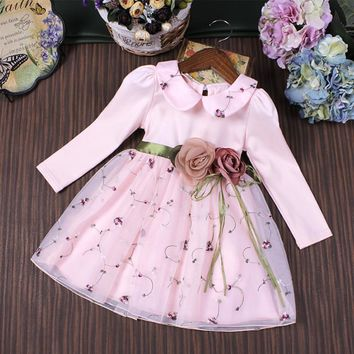 Girl Party Dress Wedding Birthday Girls Dresses Ball Gown Princess Two Flowers Embroidery Peter Pan Collar Clothes children 3-9T
