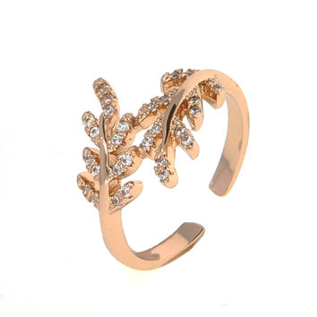 Dear Deer Rose Gold Plated Leaves Leaf Adjustable Branch Ring