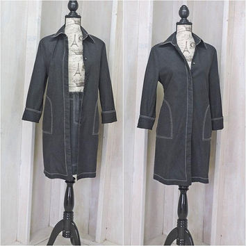 Denim duster / dress / size 6 / 7 / 90s designer long jean jacket and skirt / Peter Nygard /  urban chic long denim coat and skirt