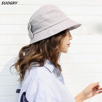 Spring Summer Bucket Hat Female Panama Sun Hat Beach Fisherman Hats For Women Foldable Brimmed With Big Bowknot Cotton New