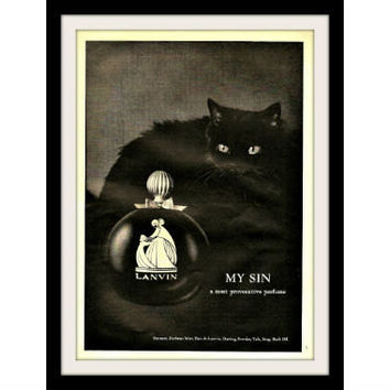 "1966 LANVIN Black Cat Perfume Ad ""Provocative"" Vintage Advertisement Print"