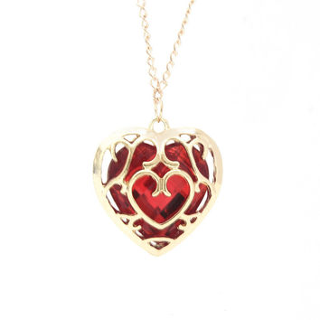 Sunshine The Legend of Zelda blue red Heart Container necklace hollow out 4cm pendant Necklace lovers quality factory price