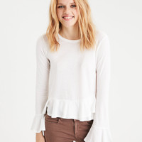 AE Double Ruffle Hem Top, Natural White