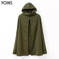Atumn/winter fashion Whimsical women's wool blend cape hooded trench coat casual cloak long outerwear for lady