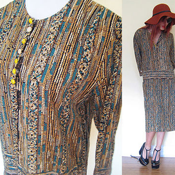 Vintage drop waist brown hippie boho bohemian ethnic native tribal india indian festival print oversized dress