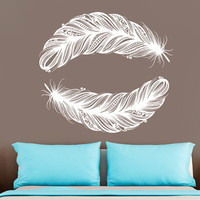 Wall Decal Vinyl Sticker Decals Art Decor Plumage Feathers Style Falling Feather Peacock Living room Dorm Bedroom Modern Fashion (r1280)
