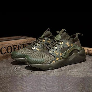 DCCKU62 Sale LV x Supreme x Nike Air Huarache Custom Army Green Sport Running Shoes