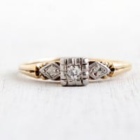 Vintage 14K Yellow & White Gold Diamond Ring - Size 6 1/4 Art Deco 1940s Leaf Shoulders Fine Jewelry