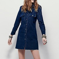 Free People Womens Washed Corduroy Shift Dress