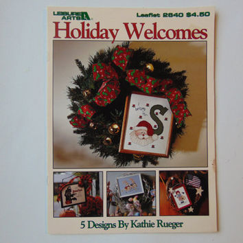 Holiday Welcomes 5 Designs by Kathie Rueger Cross Stitch Leisure Arts 2640