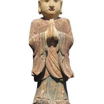 Chinese Antique Wood Hand Carving Standing Monk Statue wk2880s