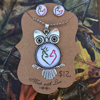 Browning Owl Necklace and Earrings Set