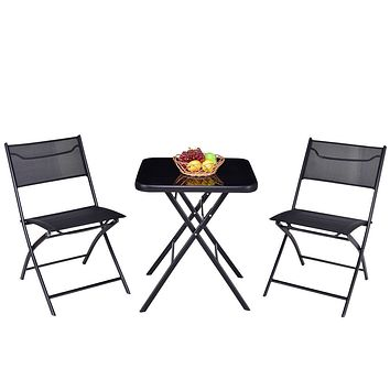 Outdoor 3-Piece Folding Bistro Patio Set with Table and Chairs