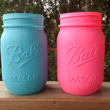 Set of 2 Mason jars, Bahama blue & shocking pink hand painted mason jar, shabby wedding decor, flower vase, housewarming gift, candle holder