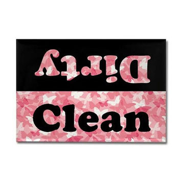 Clean or Dirty Rectangular Dishwasher Magnet - Black and White with Pink Butterfly Camo