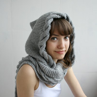 Free Shipping Light  Gray  Wool Hooded Cabled  Long Scarf  Cowl Mothers Day gift Under USD100