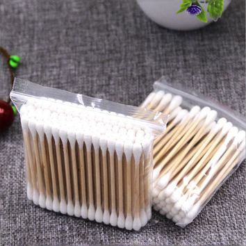 10Pack Double Head Cotton Swab Cosmetic Cotton Buds Wood Sticks Nose Ears Cleaning Women Makeup Cotton Swabs Health Care Tools