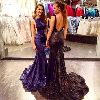Jovani Sequin Navy Evening Dress #33040A