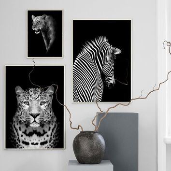 Black White Elephant Giraffe Zebra Wall Art Canvas Painting Nordic Posters And Prints Wall Pictures For Living Room Home Decor
