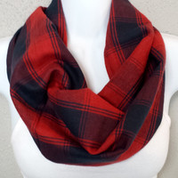 Navy & Red Plaid Flannel Cowl New England Scarf Womens Plaid Single Loop Scarf Girls Plaid Fashion Cowl Gift for Her
