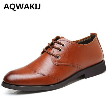 AQWAKIJ Classic Brown Men Oxford, High Quality Oxford Shoes For Men, Casual Dress Shoes, Simple Men Wedding Shoes Size38-44