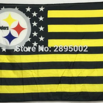 Pittsburgh Steelers Classic USA Stripes Banner Flag Polyester grommets 3' x 5' Custom metal holes Hockey Baseball Football Flag