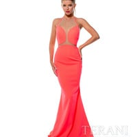 Terani 151P0069 Neon Coral Halter Backless Gown 2015 Prom Dresses