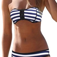 SOTW Luxury Zip-up Polka Dot Neoprene 2 Piece Bikini Set Swimsuit Swimwear