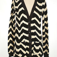 Women Long Black Cream Striped Button Down V Neck SWEATER Knit Long CARDIGAN