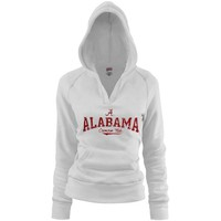 Alabama Crimson Tide Ladies White Rugby Distressed Deep V-neck Hoodie Sweatshirt