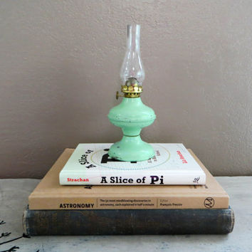 Metal Kerosine Oil Lamp The Acorn Lantern Shabby Chic Decor Green Lamp Decor Rustic Lamp Industrial Lamp Desk Lamp Childs Oil Lantern
