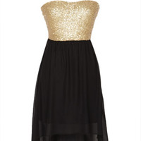 Gold Sequin High Low Dress - Gold Multi