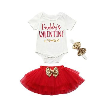 "3PC ""Daddy's Valentine"" Little Girl's Outfit White and Red Gold Sequins"