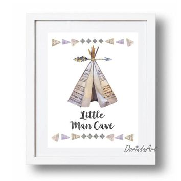Little man cave Wall art Printable Watercolor Teepee print Blue Gray Baby Boy bedroom art Tribal arrow Nursery DOWNLOAD 5x7 8x10 11x14 16x20