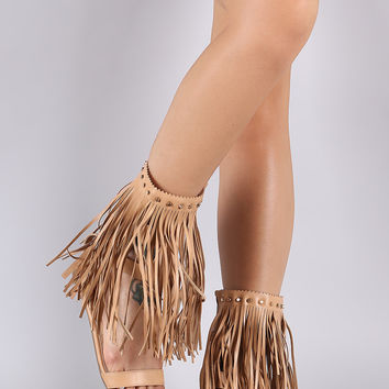 Studded Long Fringe Caged Cuff Flat Sandal