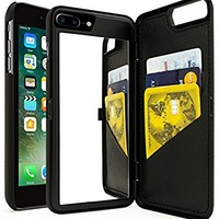 iPhone 7 Plus Case, Bastex Black Hidden Back Wallet Mirror Case with Stand Feature and Card Holder for Apple iPhone 7 Plus